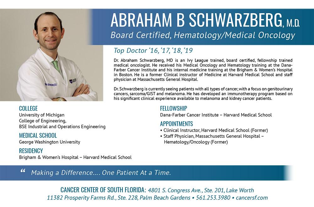 Top Doctor '16, '17, '18, '19 – ABRAHAM B SCHWARZBERG, M D  | Cancer